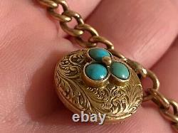 Victorian 9ct solid gold Link chain gold turquoise mourning locket forget me not