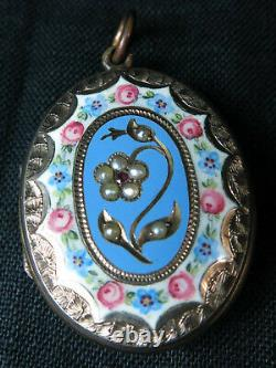 Victorian Antique Gold B&F, Enamel, Ruby Pearl Mourning Locket Woven Hair c. 1860