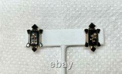 Victorian Black Onyx Pearl Clover Flower Earrings Mourning Jewelry
