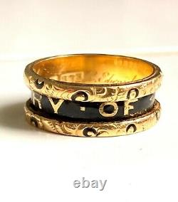 Victorian Enamel and 18Kt Gold Mourning Ring