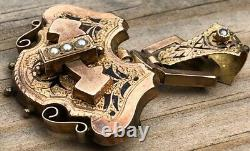 Victorian Etruscan Mourning Brooch Taille DEpargne 10K Rose Gold Seed Pearl TP