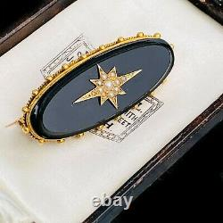 Victorian Gold, Black Onyx & seed pearl Hair mourning brooch, locket compartment