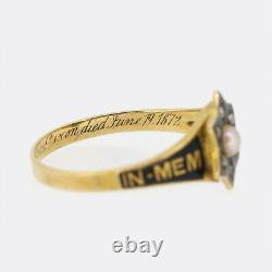 Victorian Gold Ring Pearl and Diamond In Memory of Mourning Ring 18ct Gold