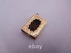 Victorian Mourning 14k Gold Woven Braided Hair Bible Book Charm Pendant