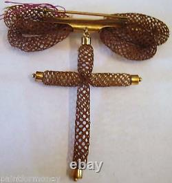 Victorian Mourning Hair Antique Jewelry Cross Double Bow Hand Braid Broach Pin