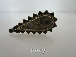 Victorian Mourning Hair Art Jet Pear Shape 10K Pin Engraved Grand Mama's