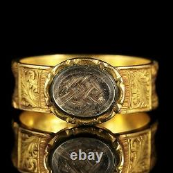 Victorian Mourning Ring 15ct Yellow Gold Dated 1885