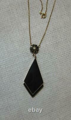 Victorian Onyx Necklace Gold Pearl c1870 Rare Mourning Jewelry Antique