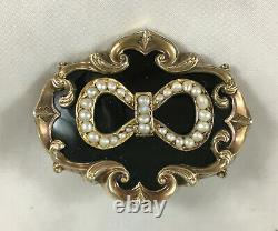 Victorian Rolled Gold Pearl & Enamelled Locket Back Mourning Brooch Pendant GCZX