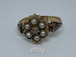 Victorian Seed Pearl and Diamond Mourning Ring on 15K Yellow Gold UK Size J