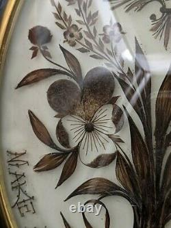 Victorian Sepia Hair Art Mourning French Antique Sentimental Large Crest Pansy