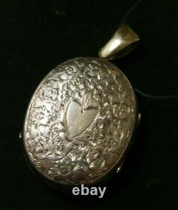 Victorian Yellow Gold Mourning Hair Photo Locket 2 sided Enamel Engraved 9d 1