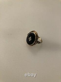 10k Or Noir Onyx Diamond Ring Taille 8 Deuil Jewelry Estate Antique Vintage