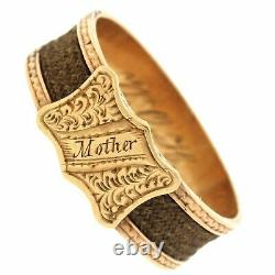 1870s Antique Victorian 14k Or Gravé Mère Braid Hair Mourning Band Ring