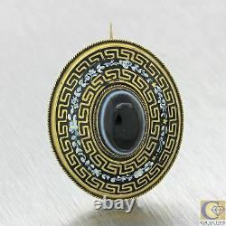 1880 Antique Victorian Mourning Or Jaune 14k Banded Agate Émail Brooch Pin