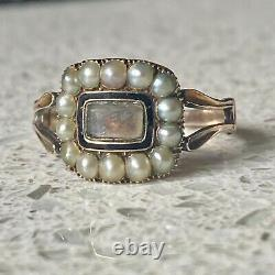 Ancienne Perle Victorienne Et Émail 18ct Gold Hallmarked Mourning Ring
