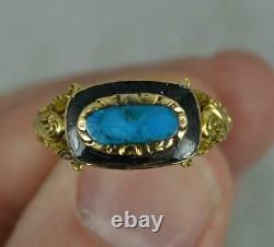 Anneau Victorian 18 Carat Gold Turquoise Enamel Mourning Cluster Ring