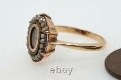 Anticique English 15k Seed Pearl Hair Locket Mourant Ring C1880