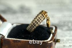 Anticique Victorien English 15k Dold Hair Morning Ring Avec Tiny Heart Charm C1850