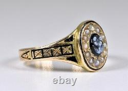 Antique 15ct Gold Victorian Forget Me Not Sardonyx Pearl Mourning Ring, 1899