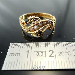 Antique 18carat Yellow Gold Pearl & Émail Floral Mourning Ring 1904