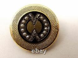 Antique 18k Or Victorian Mourning Brooch Onyx Seed Pearl Rose Coupe D'épingle De Diamant