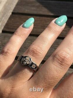 Antique C. 1906 Black Enamel In Memory Of Mother Hair Work Mourning Ring Band
