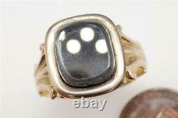 Antique Early Victorian Anglais 9k Gold Glass Locket Mourning Ring