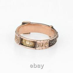 Antique Edwardian C1903 Hair Ring Buckle 9k Rose Gold Mourning Jewelry Sz 6.5