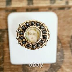 Antique French Yellowithrose Gold Miniature Portrait Anneau Mourning H/i