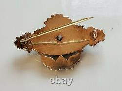Antique Perle Victorienne De Graines Onyx Brooch Mourning Pin Or Jaune 14k