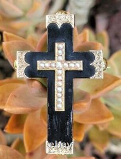 Antique Victorian 14k Gold Seed Pearl Jet Mourning Cross Pendentif Brooch Estate