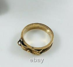 Antique Victorian 14k Rose Or Mourning Tightly Woven Hair Buckle Dainty Ring