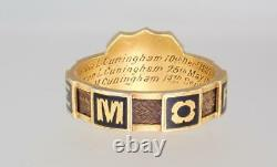 Antique Victorian 18k Or Émail Hair Mourning Ring Cuningham Wc 1891 Sze 7 3/4