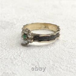 Antique Victorian 9 Carat Gold Jade And Pearl Cluster Mourning Ring