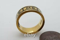 Antique Victorian Anglais 18k Gold Enamel In Memory Of Locket Mourning Ring 1880