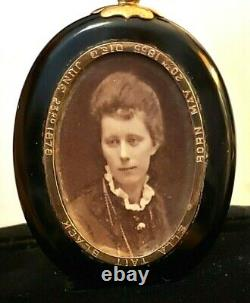 Antique Victorian Onyx Gold Pearls Mourning Locket Pendentifimoin Memory Of1878