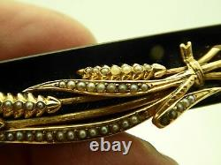 Antique Victorian Wheat Design 10kt Mourning Onyx Seed Pearl Chatelaine Broche