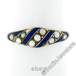 Antique Victorienne 18k Yellow Gold Natural Seed Pearl & Blue Enamel Mourning Ring