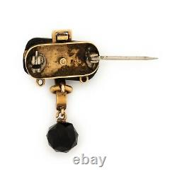 Antique Vintage Art Nouveau 14k Rose Or Mourning Onyx & Seed Pearl Pin Brooch