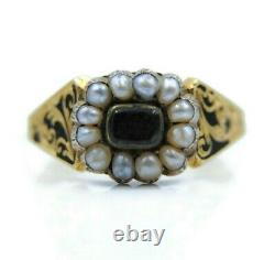 Bague Georgienne Mourning, 18ct Or, Perle & Cheveux Tissés, Uk Taille N