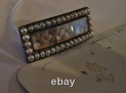Cheveux Victorian Mourning Jewelry Seed Pearl Braid Bar Pin Brooch Antique Estate