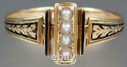 Exquis Antique Victorienne 10k Rose Gold Émail Pearl Floral Mourning Ring 6.5