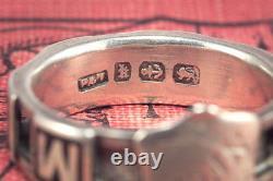 Insolite Antique Victorian English Silver Émail Memory Mourning Band Ring C1884