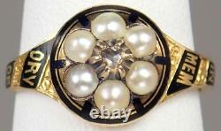Pretty Antique Victorien 18k Gold Diamond Enamel Pearl Floral Mourning Ring 6.5