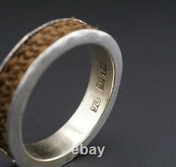 Swedish Victorian Sterling 9k Gold Mourning Ring Taille De Bande 11.25 1884 6mm Rs2570