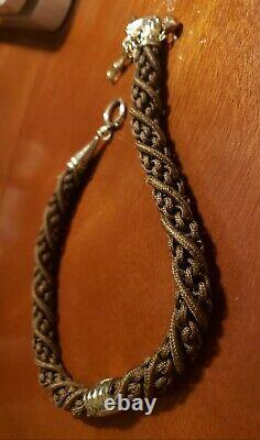 Victorian 10k & 14k Solid Gold Mourning Hair Pocket Watch Chain Avec Elk Head Fob