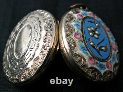 Victorian Antique Gold B&f, Enamel, Ruby Pearl Mourning Locket Woven Hair Vers 1860