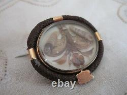 Victorian Hair Art Mourning Cheveux Floral Seed Pearl Accent 14k Trim Pin Brooch