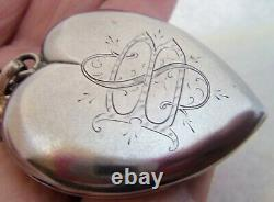 Victorian Large W&h C Sterling Silver Heart Mourning Locket Pendentif 1.5 Photos
